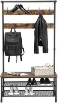 MIRA - XL Garderoberek met kapstok inclusief schoenenrek multifunctioneel met 9 dubbele haken  | Vintage | Industrieel