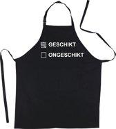 Mijncadeautje Schort Geschikt of Ongeschikt - Mooie - grappige - leuke Keukenschort - Zwart