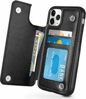 ShieldCase Wallet Case  iPhone 11 Pro Max  (zwart) +  Glazen Screenprotector