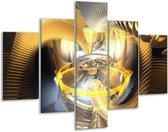 Glasschilderij Abstract | Geel, Zilver, Grijs | 100x70cm 5Luik | Foto print op Glas |  F001414