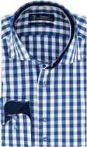 Sleeve7 Overhemd Blauw Allover Ruiten Poplin Modern Fit - 45