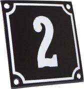 Emaille huisnummer zwart/wit nr. 2 10x10cm