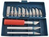 NBH® - Scalpel modelling set 3 handvaten, 13 mesjes, en opbergdoos. Zeer scherp, niet voor kinderen!