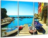 Glasschilderij Venetië | Blauw, Rood | 120x80cm 3Luik | Foto print op Glas |  F006083