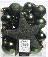 Decoris Kerstballen Mix - Met Piek - 33 Stuks - Dennen Groen