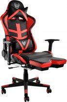 Luxe Gaming Race Chair Met Voetsteun - Bureau Stoel - Ergonomische Racing Design Game Computer Stoel - Zwart/Rood