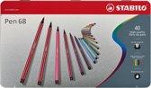 STABILO Pen 68 40 Viltstiften - Metalen Etui