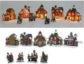 Nampook Kerstdorp - Met verlichting - 9 delig - Incl. 4 kerstfiguren