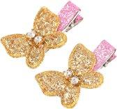 Vlinder Glitter haarspeldjes Goud