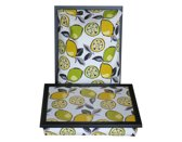 Margot Steel laptray/schoottafel Lemon en Lime - 41 x 31 10 cm