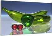 Glasschilderij Abstract   Groen, Rood, Blauw   120x70cm 1Luik   Foto print op Glas    F004006