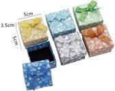 24 stuks Verpakkings doosjes ring - Glitters & Hartjes - 5x5x3.5 cm