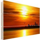Kleurrijke zonsondergang bij Cleveland in de Verenigde Staten Vurenhout met planken 90x60 cm - Foto print op Hout (Wanddecoratie)