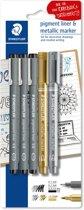 STAEDTLER pigment liner fineliner - blister 3 st + 2 st