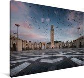 Duiven bij de Moskee in Casablanca Canvas 30x20 cm - klein - Foto print op Canvas schilderij (Wanddecoratie woonkamer / slaapkamer)