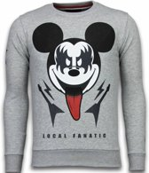 Local Fanatic Kiss My Mickey - Rhinestone Sweater - Grijs - Maten: XXL