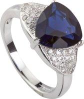 Brigada - ring met saffierblauwe triangel geslepen zirkonia steen - 925 sterling zilver - maat 19