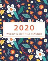 2020 Weekly and Monthly Planner: Academic Year Calendar Organizer Notebook to Increase Productivity/Time Management with Floral Pattern Cover