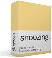 Snoozing Jersey Stretch - Hoeslaken - Extra Hoog - Eenpersoons - 70/80x200/220 cm - Geel