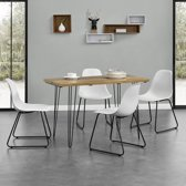 [en.casa]® Eettafel met pinpoten - 120x60 - Houtlook