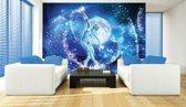Fotobehang Vlies | Dansen, Abstract | Blauw | 368x254cm (bxh)