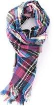 Dunne gekleurde sjaal met ruit patroon - Mooie katoenen voor binnen en buiten