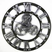 Handgemaakte Grote XL wandklok - Decoratieve retro 3D - Tandwiel - 45 cm - Zilver