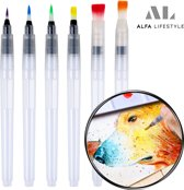 Set 6 St. Water Brush Pen (3 Punt + 3 Plat) - Hervulbaar Penseel