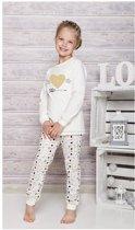 Kinderpyjama Taro Ada 433 met goude hart opdruk en witte hartjes broek - 104