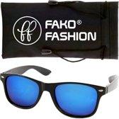 Fako Fashion® - Zonnebril - Wayfarer - Zwart - Spiegel Blauw