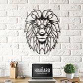 Metalen Leeuwenhoofd - Metal Lion Head - Hoagard   Geometrisch Ontwerp  Zwart 40cm x 50cm  Beste cadeau-idee voor dierenliefhebbers   Modern interieuridee   Country & Rustic Style   Dieren in Het Wild