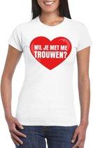 Huwelijksaanzoek t-shirt Wil je met me trouwen wit dames L