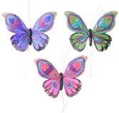 Set gekleurde vlinder hangdecoratie 9 cm