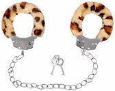 Pluche enkelboeien luipaardprint voor volwassenen