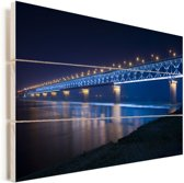 Blauw gekleurde Wuhan-Yangtze-brug in de nacht in Wuhan Vurenhout met planken 60x40 cm - Foto print op Hout (Wanddecoratie)