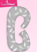 Zwangerschapskussens / Voedingskussen  -  C vorm - Grijs met witte veren