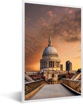 Foto in lijst - Kleurrijke foto van de St Paul's Cathedral in London fotolijst wit 40x60 cm - Poster in lijst (Wanddecoratie woonkamer / slaapkamer)