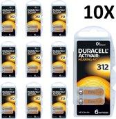 Duracell 312 gehoorapparaat batterijen - DA312 - bruin - 60 stuks