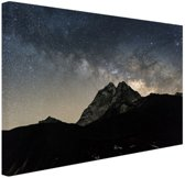 Melkweg over bergen Nepal Canvas 60x40 cm - Foto print op Canvas schilderij (Wanddecoratie)