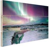 FotoCadeau.nl - Verschillende kleuren noorderlicht Hout 120x80 cm - Foto print op Hout (Wanddecoratie)