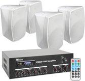 """Power Dynamics PBA30 100V geluidsinstallatie met 4 witte weerbestendige 5"""" opbouw speakers"""