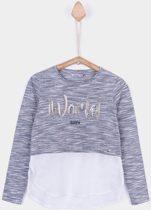 Tiffosi-meisjes-shirt, longsleeve-Berry-kleur: grijs, wit-maat 128