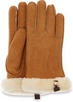 UGG Shorty Glove W/ Leather Trim Dames Handschoen - Chestnut - Maat L