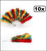10x Veren waaier rood/geel/groen