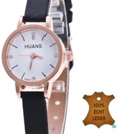 Horloge- Huans- Zwart- Leer- Krokodillenlook-22.5 mm