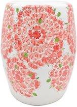 Fine Asianliving Witte Porseleinen Kruk Met Roze Bloemen