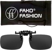 Fako Fashion® - Clip On Voorzet Zonnebril - Large - 134x39mm - Zwart