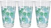 3x Glazen met tropische bladeren print - 300 ml - drinkglazen