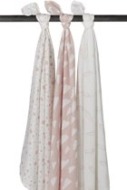Meyco 3-pack Swaddle - Feather-Clouds-Dots - roze