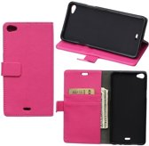 Litchi Cover wallet case hoesje Wiko Rainbow Up 4G roze